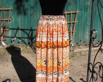 Vintage 70s - Maxi Dress, Black Velvet Sleeveless Bodice, Orange Paisley Skirt