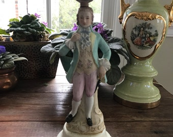 vintage early American lamp / Colonial boy in pastel colors / ceramic