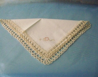 Purse Sized Handkerchief, Hanky, Hankie, Small, Petite, Hand Crochet, Embroidered, Off White, Ecru, Heart, Ladies, Lace, Lacy, Ready to ship