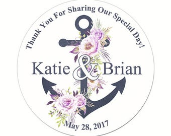 Custom Wedding Labels Personalized Anchor with Watercolor Flowers Round Glossy Designer Stickers - Quantity 100