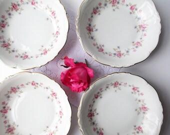Vintage Soup Bowls Edelstein Florence Pink Blue Floral Set of Four