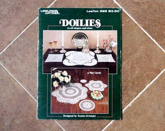 Crochet Doily Patterns, Leisure Arts Book, Doilies in All Shapes and Sizes by Eunice Svinicki, Vintage, Leaflet 529