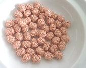 Moroccan art silk  beads/buttons,handmade, flowers rosebud peach, set of 50
