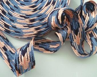 Moroccan art silk trim, pink and blue , woven , chevron trim, medium,  5 metres