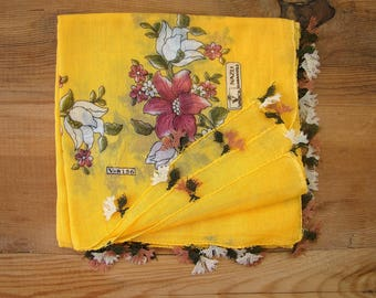 yellow cotton scarf , needle lace trim, turkish oya