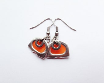 Cute Orange and Silver Earrings, Small Dangle Earrings, Recycled Ring Pull and Plastic Bottle Top Lid