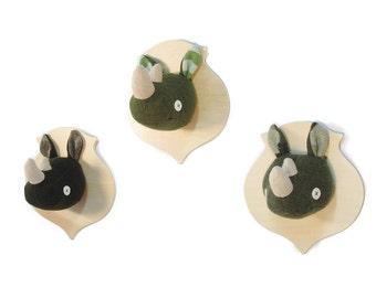 Cate and Levi Handmade Rhino Stuffed Animal Head Plaque (Premium Reclaimed Wool), Colors Will Vary