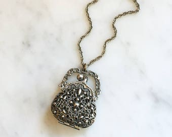 Vintage 60s Filigree Purse Handbag Locket Pendant Necklace