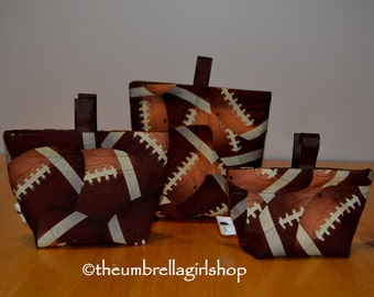 Ready to ship-Football Reusable Snack Bags - Set of 3
