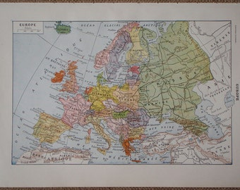 Antique EUROPE map published in France 1922 with European countries illustrated in color