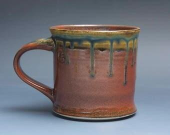 Handmade pottery coffee mug, ceramic mug, stoneware tea cup 14 oz mug deep glossy tangerine red flake  3966