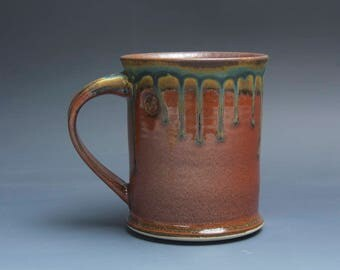Handmade pottery coffee mug, ceramic mug, stoneware tea cup 16 oz mug glossy tangerine red flake  3975