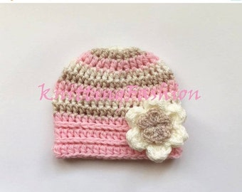 ON SALE 15% SALE Newborn Baby Girl Stripe Hat _ Crochet Baby Hat _ NewBorn Baby Hospital Hat _ Photo Props Baby Hat