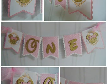 Minnie Mouse pink and gold 1st birthday decorations -high chair banner- ONE banner-birthday banner