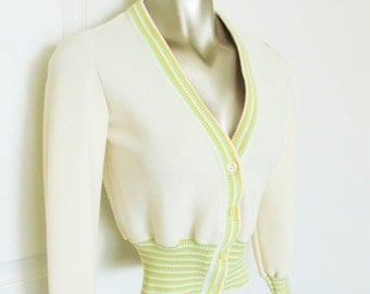"40% OFF SALE Vintage 1970's Retro Stripe Sweater / ""School Girl"" Preppy Pastel Yellow Cropped Cardigan / Size Small American Miss"