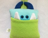 Tooth Fairy Pillow | Green, Aqua, and Blue | Tooth Fairy Monster Pillow