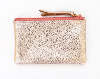 Leather Zipper Coin Case / Card Case / Wallet - Pink
