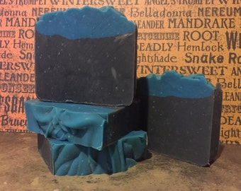 Van Helsing Artisan Lye Soap Cold Process - Leather, Gunsmoke, Grave Dirt & Strawberries Handmade Soap 5oz - 6oz Bar Soap