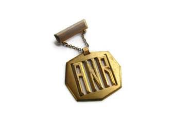 SALE-Antique Art Deco Initial Brooch ANR c.1930