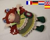 Crochet pattern for doll ELLIE, pdf  (Deutsch, English, Nederlands, Españo, Français)