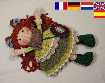 Crochet pattern for doll ELLIE, pdf  (Deutsch, English, Nederlands, Españo, Français)