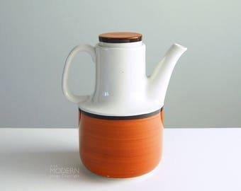 Gustavsberg Arena Swedish Ceramic Coffee Pot With Lid by Stig Lindberg 1970s Modern