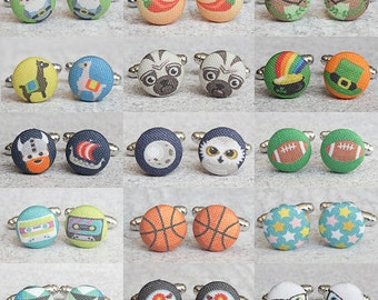 Choose The Design, One Pair of Fabric Button Cufflinks, Designs 211 through 280