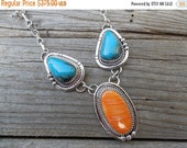 ON SALE Beautiful turquoise and spiney oyster necklace handmade in sterling silver by An American Indian