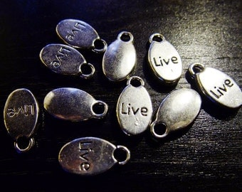 Destash (10) Live Word Charms - words, silver plate for pendants, jewelry making, crafts, scrapbooking