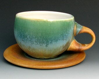 CUP AND SAUCER #4 - Coffee Cup - Coffee Cup and Saucer - Ceramic Cup and Saucer - Tea Cup and Saucer - Pottery Cup and Saucer