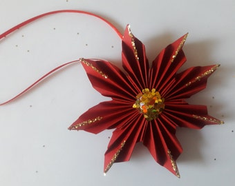 3D origami Poinsettia ornament