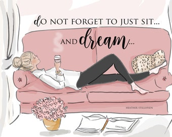 Sit and Dream - Wall Art for Women - Dreams - Wall Art Print -  Digital Art Print -  Wall Art -- Print