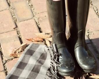 Scarf-Black and Grey Plaid Flannel