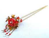 Vintage Japanese kanzashi hairpin with dangles hair accessory hair pick hair fork hair jewelry decorative comb