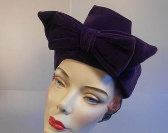 60% OFF SALE The Purple Dahlia - Vintage Mid 1940 Dark Plum Purple Velvet Toque High Peak Tower Hat w/Bow