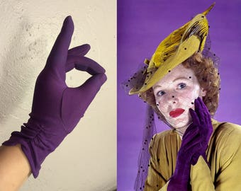 The Touch of Her Cheek - Vintage 1950s Eggplant Plum Nylon Over the Wrist Gloves - One Size