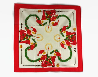 Vintage Christmas Table Linen, Swedish Tomte, Scandinavian Christmas Decor