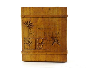 Wooden Box with Lid, Vintage Bollinger Champagne Box, Decorative Storage Box