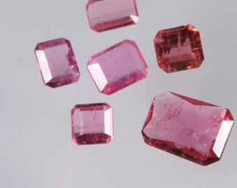 5.05 cts hot pink tourmaline faceted mixed octagon cut lot afghanistan