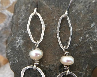 Organic geometric patinated sterling silver and pearl earrings
