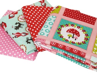 Bundle of 4 with Prints from Lil Red Collection and Moda Dottie in Red and Pink, by Moda