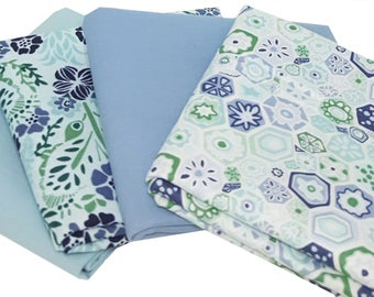 Bundle of 4 Prints in Sage and Slate Blue from the Grand Canal Collection with Coordinating Bella Solids, by Kate Spain for Moda