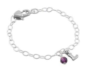 Charm Bracelet, sterling silver, for child, birthstone bracelets, initial letter, birthstone, first birthday, little girls, daughter, LAYLA