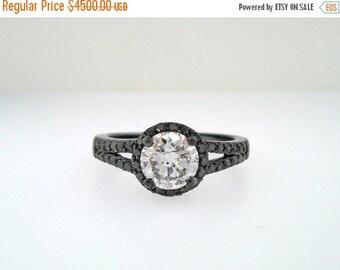 ON SALE 14K Black Gold Diamond Engagement Ring Fancy Black & White Diamond Halo 1.43 Carat Vintage Style handmade