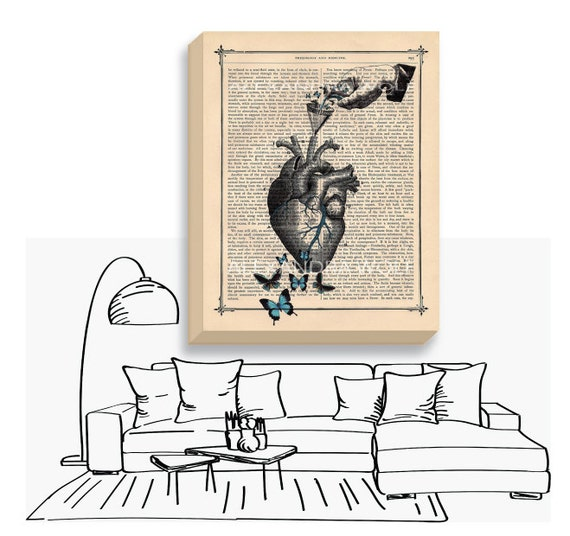 Anatomical Heart Canvas Print - Human Heart Art Print - Heart Anatomy Blue Butterflies Canvas Wrap - Science Decor Wall Art - Medical Art