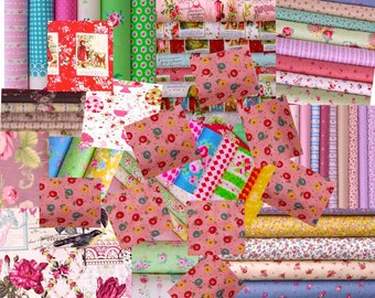 Fabrics choosens by the seller,  Quilts cotton Fabric 5 designs , 0.5 yard each , total  25 dollars