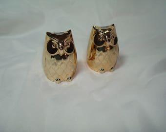 Made in JAPAN Golden Metal Owl Salt and Pepper Shaker Set.