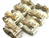 Vintage Metal Napkin Rings with Bows, Silver & Brass, Napkin Holders, Set of 7