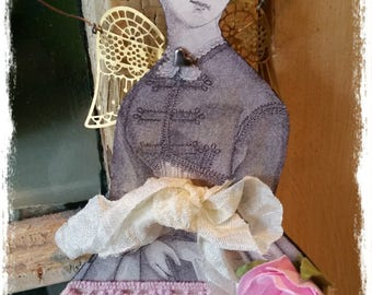 Paper doll winged angel - Pink, pastels, gold, rose, lace, collage art