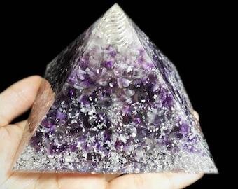 10cm Orgone Pyramid, Amethyst Quartz, Inner Wisdom, Wealth and Health Energy Generator, Orgonite